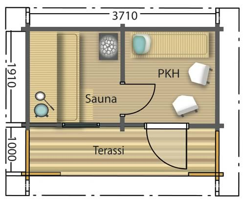 Log cabin floor plan for Sauna design plans